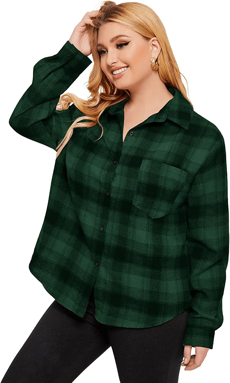 SweatyRocks Women's Plaid Long Sleeve Button Down Shirt High Low Oversized Blouse Top