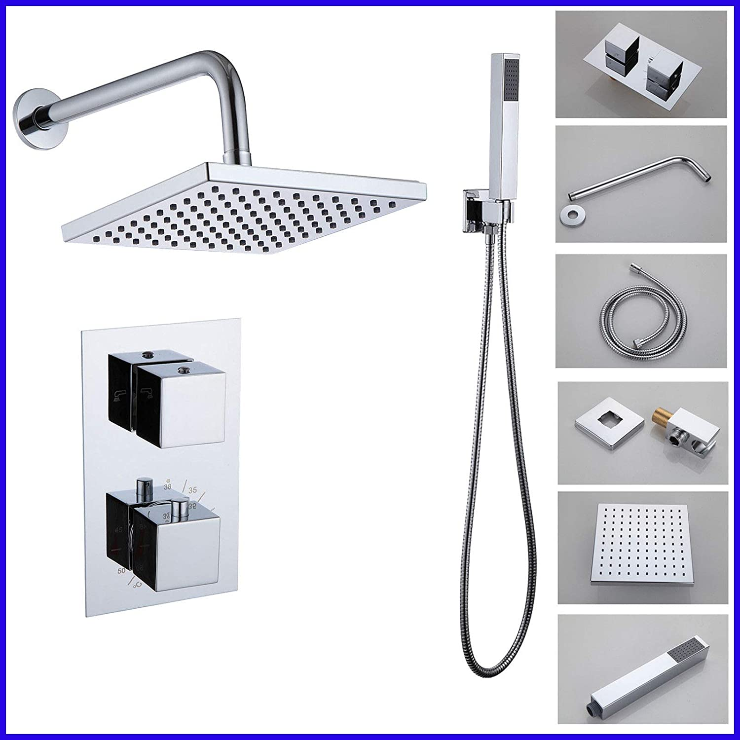 Thermostatic Shower Systems with 8'' Rain Shower Square Head and Handheld Wall Mounted Shower Combo Set Twin Heads