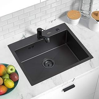 Auralum 5545CM Edelstahlspüle 50cm Unterschränke für Küchen Spülbecken, Einbauspüle 1 Becken Küchenspüle Einzelspüle nano schwarz