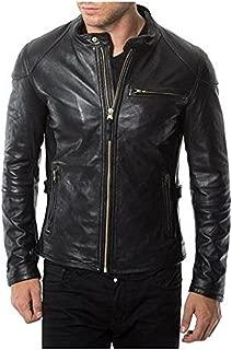 Laverapelle Men's Genuine Lambskin Leather Jacket (Black, Racer Jacket) - 1501472