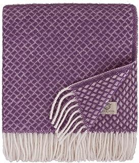 Linen & Cotton Couverture en Laine Douce de Qualite Sofia avec Franges -100% Pure Laine de Nouvelle-Zélande, Violet (130 x...