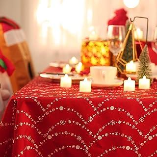 Deconovo Mantel Mesa Rectangular de Navidad 130x130cm Rojo