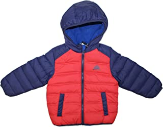 34c4df790 Snozu Boys Hooded Fleece Lined Hypoallergenic Down Jacket Coat (2T,  Navy/Red)