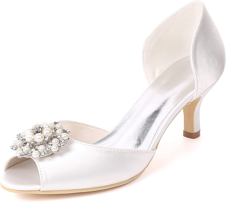 Elobaby Frauen Schuhe Hochzeit Abend Satin Strass Wie Plateau Pumps Kitten High Heels Handmade   6 cm Ferse