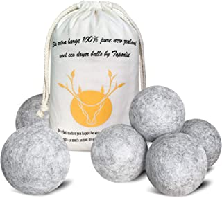 Wool Dryer Balls 6 Pack, XL Reusable Natural Fabric Softener, 100% Organic Premium New Zealand Wool for Laundry, Chemical Free, Reduces Wrinkles and Saves Drying Time, Baby Safe, Anti Static, Gray