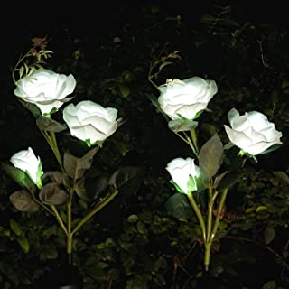Solar Rose Garden Lights, LoveNite 2 Pack Solar Flower Light with 6 Realistic Rose Flowers, LED Waterproof Stake Lights fo...