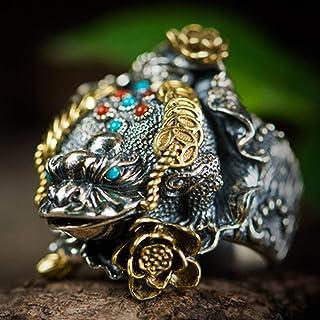 خاتم من الفضة الإسترلينية S925 خاتم للرجال على الطراز الصيني خاتم على الطراز الصيني، قابل للتعديل في الحجم للأصدقاء ، أفضل...