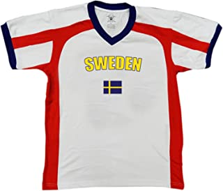 Sweden Country Flag Men's Soccer Style Sport T-Shirt, Amdesco