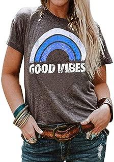 YASAKO Plus Size Women Tops Short/Long Sleeve T Shirts Good Vibes Casual Tee Shirts Graphic Tunic Fall Blouse
