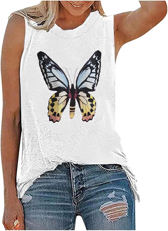 Womens Tank Tops Printed Sleeveless Crewneck Shirts Summer Casual Loose Vintage Graphic Tee Blouse T Shirts