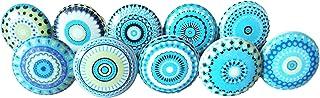 10 x Mélange bleu Look vintage Fleur en céramique Boutons