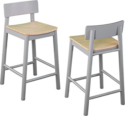SEI Furniture Claxby Two-Tone Counter Stools, Gray/Natural, Set of 2