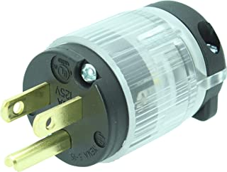 Journeyman-Pro 515PV-LIT Lighted 15 Amp 120-125 Volt, NEMA 5-15P, 2Pole 3Wire, Straight Blade, Male Plug Replacement Cord Outlet Connector, Commercial Grade PVC Power Indicating (BLACK LIT 1-PACK)