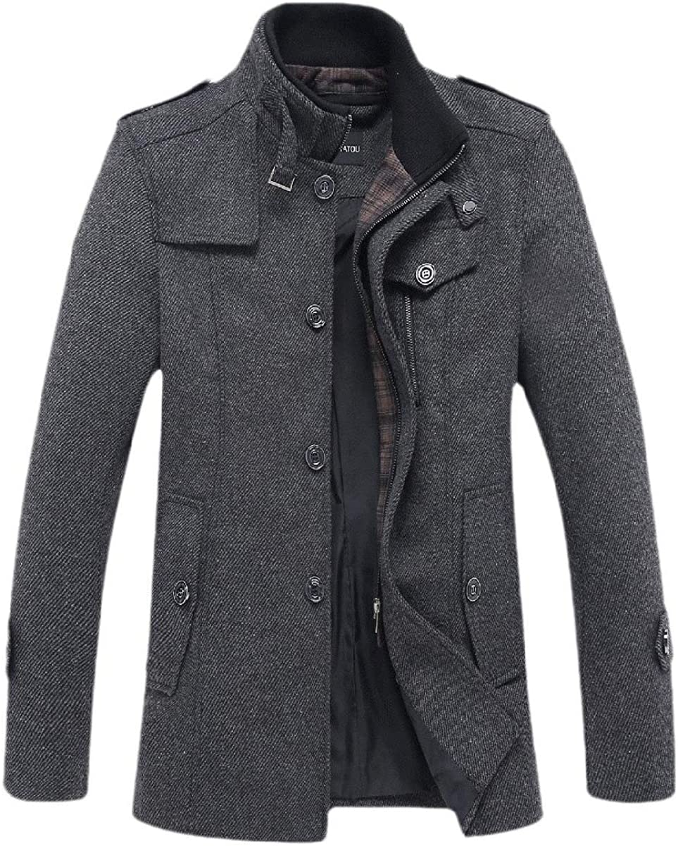 Men Wool Blend Stand Collar Trench Jacket Zip Classic Trench Coat