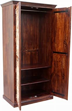 Made to Order Maharaja Wooden Wardrobe Cabinet Brown Handmade Handicraft(Made to Order)