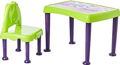 Conjunto Infantil de 1 Mesa e 1 Cadeira Plásticas Montáveis Monster, Tramontina, Verde/Lil