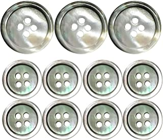 Grekywin High-Grade Natural Shell Button, for Blazer, Suits, Uniform, Jacket, etc. Four Holes Circular Button (Gray), 11 Pcs