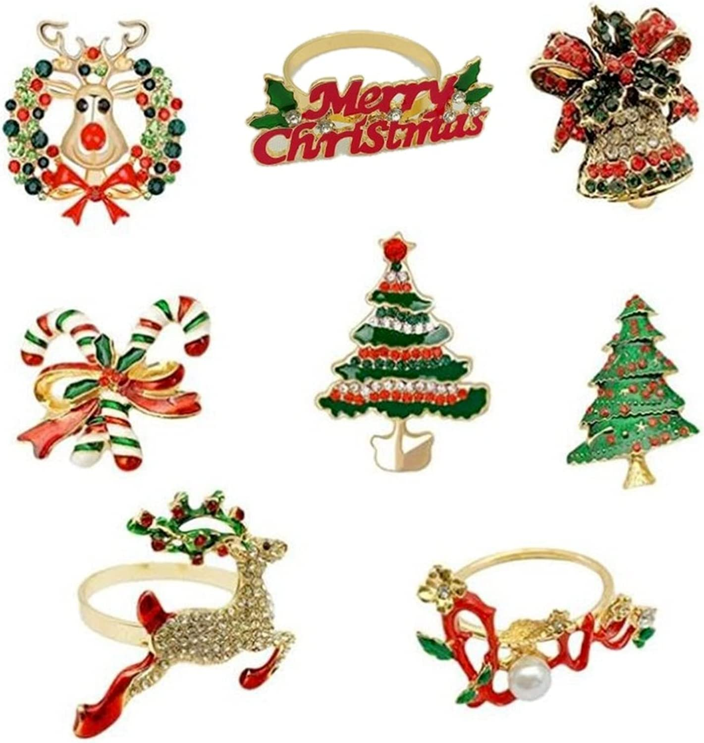 Christmas Napkin Rings In a popularity Seattle Mall Set of Holiday 8 Holder for