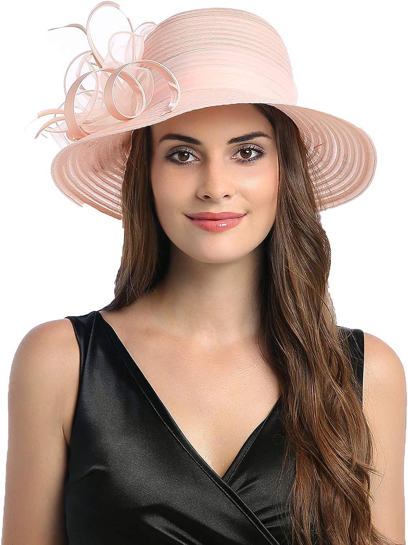 Prefe Women's Organza Church Kentucky Derby Fascinator Bridal Tea Party Wedding Hat