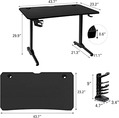 "AuAg 43.7"" Gaming Desk with Handle Rack, T-Shaped Office PC Computer Desk with Free Mouse Pad, Processional Game Station with Holder, Headphone Hook"