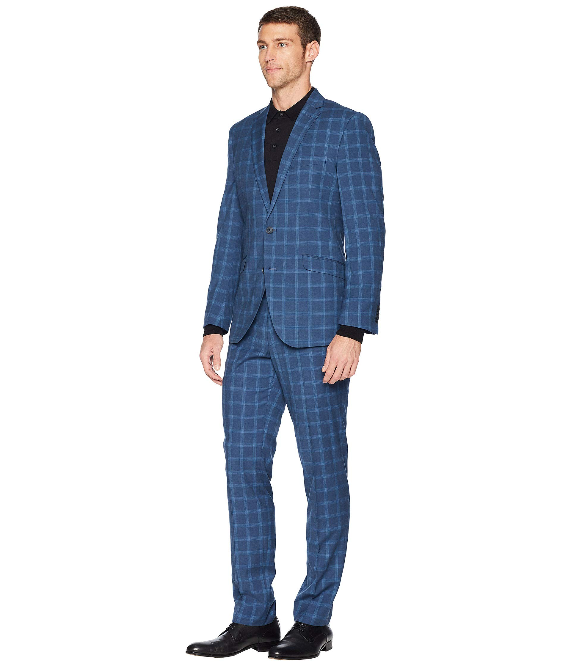 Fit Finished Plaid Stretch Bottom Suit Blue Reaction 32