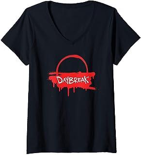 Femme Netflix Daybreak Sunrise Spray Paint Logo T-Shirt avec Col en V