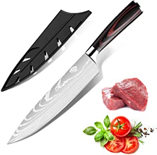 Dfito Couteau de Chef, Couteau de Chef Professionnel de 8 Pouces à Haute Teneur en Carbone, Couteau de Cuisine en Acier In...