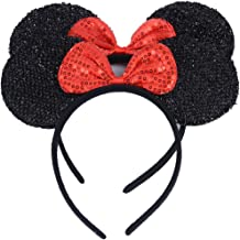 NiuZaiz Set of 2 Black Glitter Red Sequin Bow Mouse Ears Headband for Boys Girls Birthday Party Accessory Decorations (Black Sequin Red)