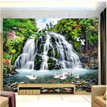 xbwy Custom 3D Mural Wallpaper for Wall Beautiful Nature Landscape Photo Waterfall Ducks Wall Paper for Room Decor Tv Sofa Backdrop-280X200Cm