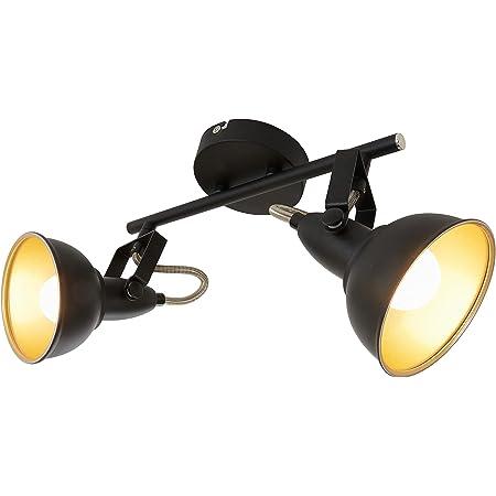 luminaire style vintage - 55.4 x 10 x 18.1 cm m/étal satin /& blanc 3 douilles E14-40 W max Briloner Leuchten 2049-032 Plafonnier 3 spots pivotants