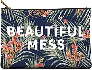 Studio Oh! Large Zippered Pouch Available in 8 Designs, Floral Typography BEAUTIFUL MESS