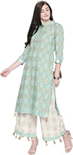 Ishin Women's Green & White Poly-Cotton A-Line Printed Kurta Palazzo Sets