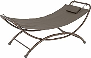 SORARA Heavy Duty Quilted Fabric Patio and Garden Hammock Bed with Frame Stand Garden Camping Porch Patio Beach Furniture for Outdoor Backyard Garden Pool Lounge Patio, Grey