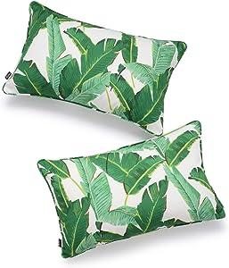 Hofdeco Tropical Indoor Outdoor Indoor Outdoor Pillow Cover ONLY, Water Resistant for Patio Lounge Sofa, Green Banana Leaf, 12