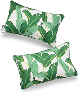 Hofdeco Outdoor Patio Decorative Lumbar Pillow Cover ONLY Weather Water Resistant Canvas Jungle Greenery Tropical Banana L...