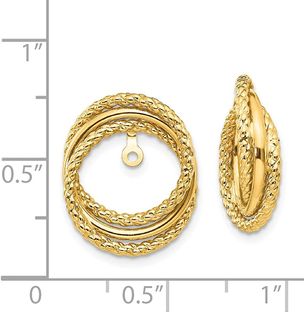 Solid 14k Yellow Gold and Twisted Unique Earring Jackets - 16mm x 12mm