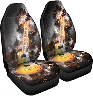 VTH Global 3D Music Acoustic Electric Guitar Car Seat Covers Set of 2 Universal Fit Guitar Gifts for Guitarists