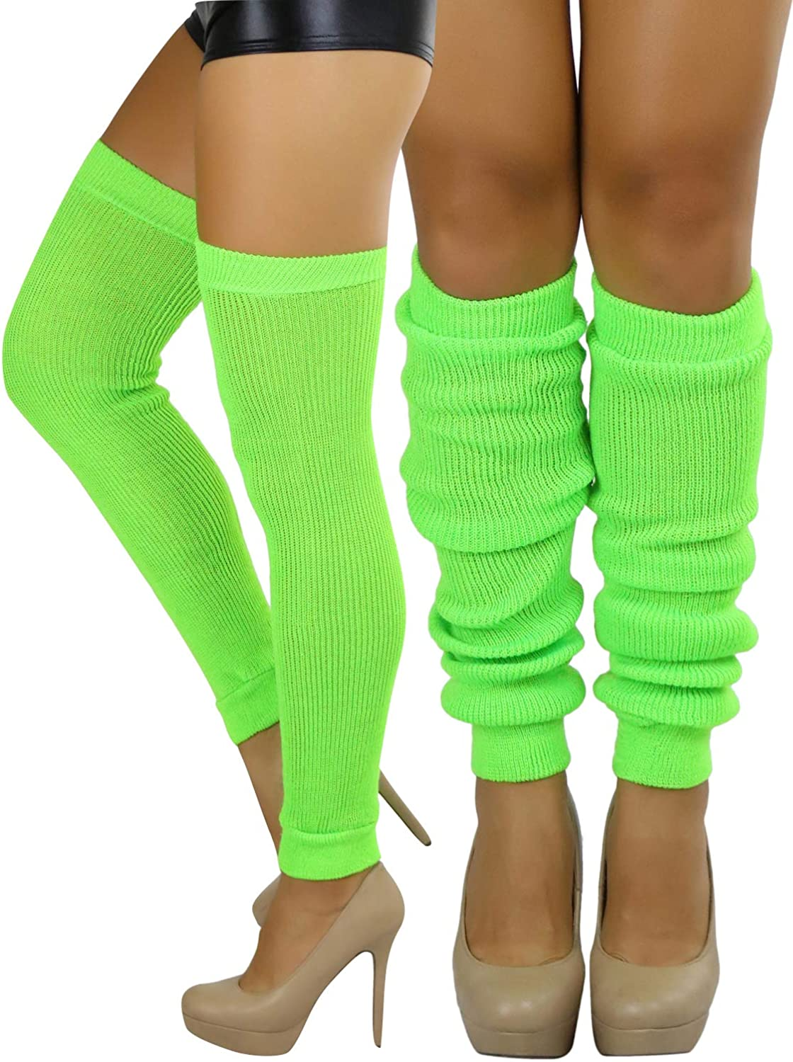 ToBeInStyle Women's Long Over The Knee Leg Warmers Bright Thigh High