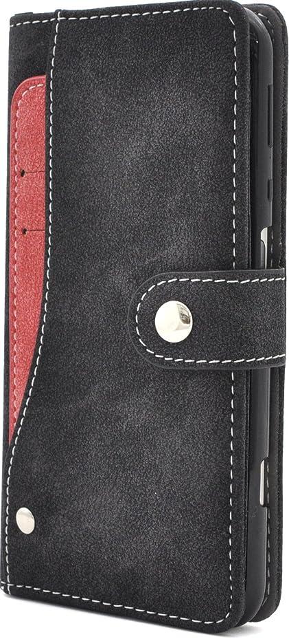 求人薬用頭痛PLATA AQUOS ZETA SH-04H / AQUOS SERIE SHV34 / AQUOS Xx3 ケース 手帳型 スライド カード ポケット ソフト レザー 手帳 カバー 黒 DSH04H-97BK