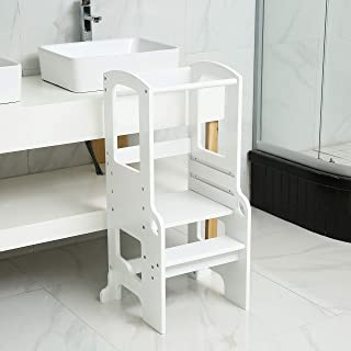 UNICOO- Bamboo Height Adjustable Kids Learning Stool, Kids Kitchen Step Stool, Toddlers Stool (White)