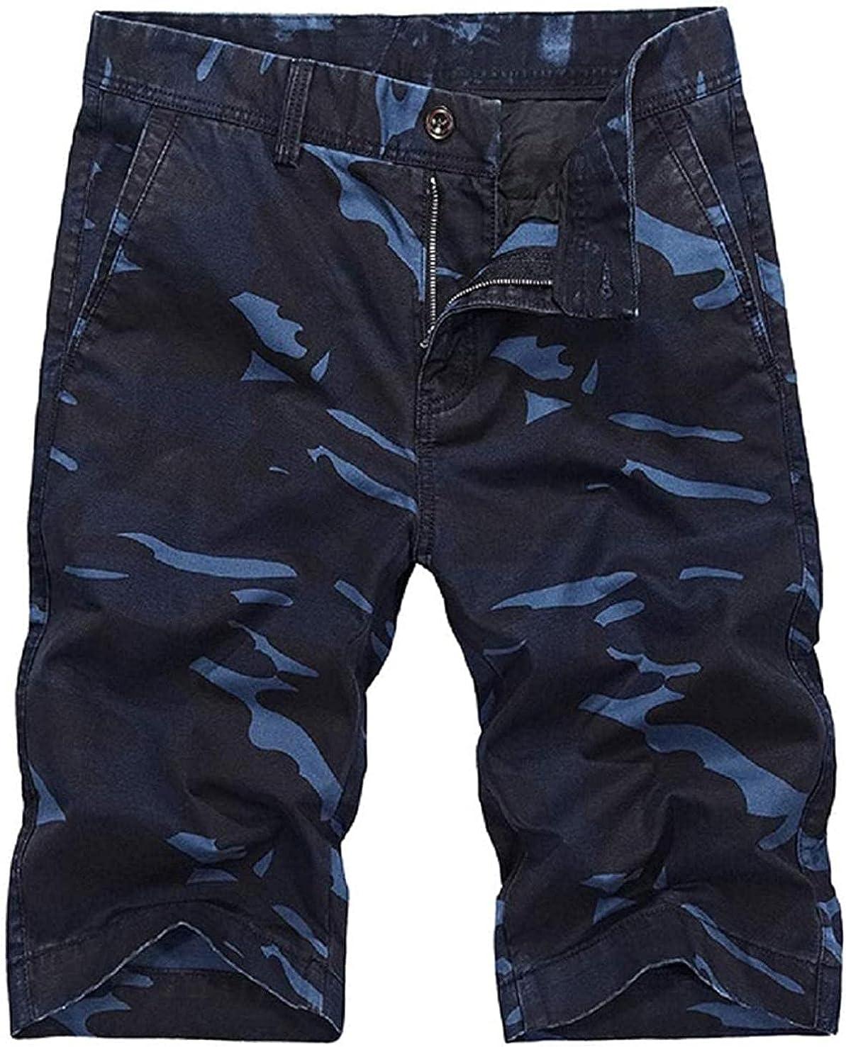 Rsqsjgkert Men's Natural Waist Camouflage Straight Leg Multi-Pocket Bermuda Cargo Shorts
