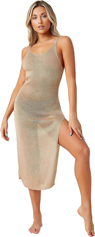 SOLY HUX Women's Backless Split Hem Crochet Beach Swimsuit Bikini Cover Up