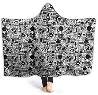 NiYoung Hooded Blankets Soft Cozy Sherpa Flannel Travel Blanket, Kids Adults Throw Blankets for Bedroom Living Rooms Sofa Couch - Black and White Trippy Design Wearable Blanket