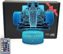 MARZIUS Race Sports Auto 3D Illusie Tafellamp Roadster Vorm Nachtlampje met Wenskaart, Lichtgevende Base, 16 Kleuren Veran...