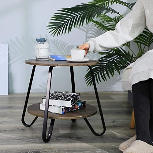 FurnitureR Mesa Auxiliar rústica Mesa Auxiliar de sofá Industrial para Sala de Estar Mesitas de Noche Redondas pequeñ...
