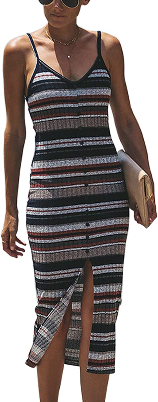 Hiblueco Women's Spaghetti Strap V Neck Striped Slit Front Midi Bodycon Slim Dress