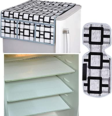 Kuber Industries Combo of PVC 3 Pieces Fridge Mats, 1 Piece Handle Cover and 1 Piece Fridge Top Cover (Grey) - CTKTC022394