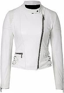 New Womens Genuine Sheep Leather Black Slim Fit Biker Jacket LTW242