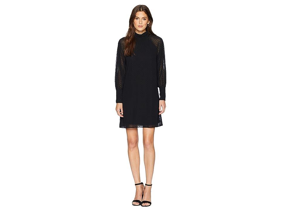 kensie Crinkle Swiss Dot Dress KS8K8283 (Black) Women