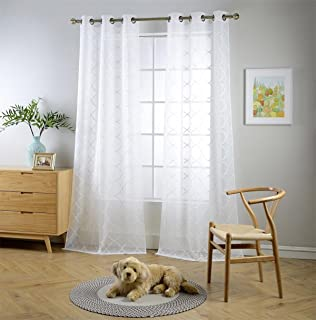 MIUCO White Sheer Curtains Embroidered Trellis Design Grommet Curtains 84 Inches Long for Bedroom 2 Panels (2 x 37 Wide x 84